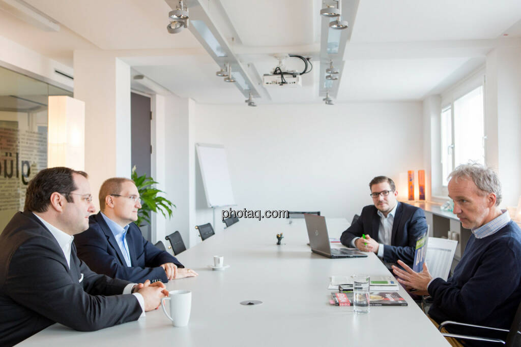 Daniel Riedl (CEO Buwog), Andreas Segal (CFO Buwog), Michael Lippitsch (Buwog), Christian Drastil (BSN), © Martina Draper/photaq (07.03.2017)