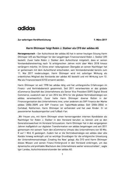 adidas: Harm Ohlmeyer neuer CFO, Seite 1/3, komplettes Dokument unter http://boerse-social.com/static/uploads/file_2143_adidas_harm_ohlmeyer_neuer_cfo.pdf (07.03.2017)