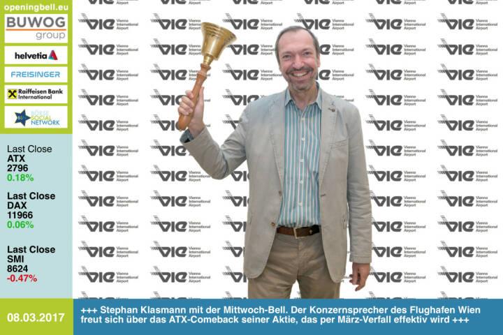 #openingbell am 8.3.: Stephan Klasmann läutet die Opening Bell für Mittwoch. Der Konzernsprecher des Flughafen Wien freut sich über das ATX-Comeback seiner Aktie, das per März-Verfall effektiv wird http://www.viennaairport.com https://www.facebook.com/groups/GeldanlageNetwork/