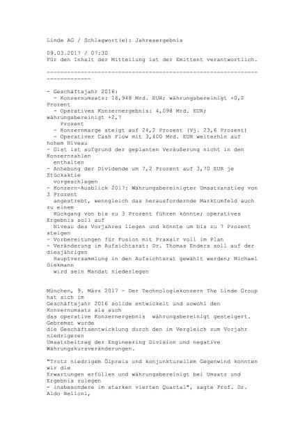 Linde: Jahresergebnis 2016, Seite 1/17, komplettes Dokument unter http://boerse-social.com/static/uploads/file_2152_linde_jahresergebnis_2016.pdf (09.03.2017)