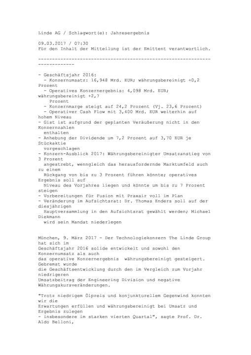 Linde: Jahresergebnis 2016, Seite 1/17, komplettes Dokument unter http://boerse-social.com/static/uploads/file_2152_linde_jahresergebnis_2016.pdf