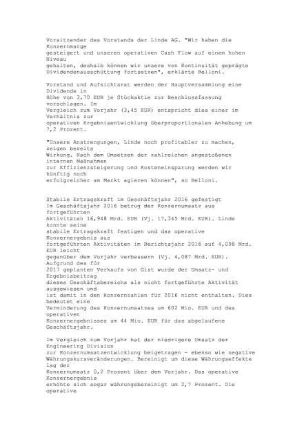 Linde: Jahresergebnis 2016, Seite 2/17, komplettes Dokument unter http://boerse-social.com/static/uploads/file_2152_linde_jahresergebnis_2016.pdf (09.03.2017)