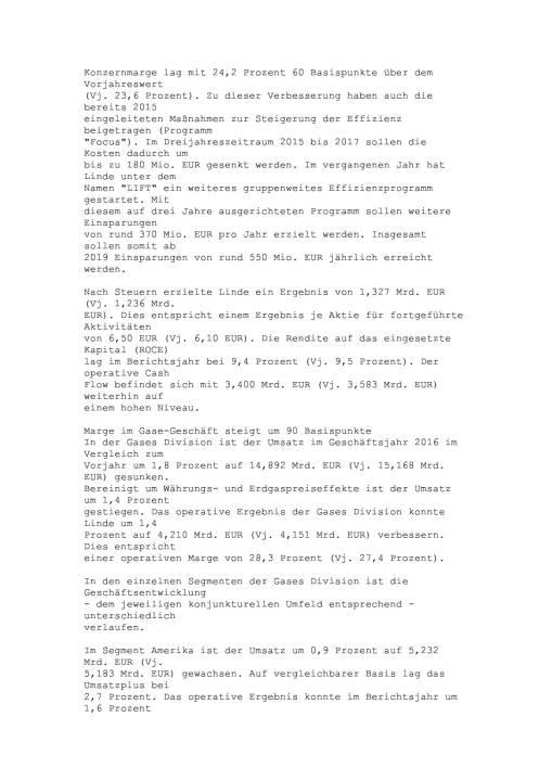 Linde: Jahresergebnis 2016, Seite 3/17, komplettes Dokument unter http://boerse-social.com/static/uploads/file_2152_linde_jahresergebnis_2016.pdf