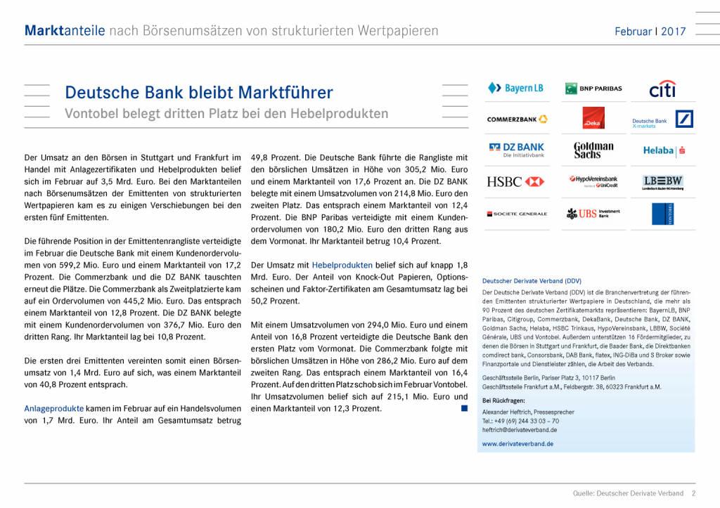 Marktanteile nach Börsenumsätze: Deutsche Bank bleibt Marktführer, Seite 2/15, komplettes Dokument unter http://boerse-social.com/static/uploads/file_2153_marktanteile_nach_borsenumsatze_deutsche_bank_bleibt_marktfuhrer.pdf (09.03.2017)