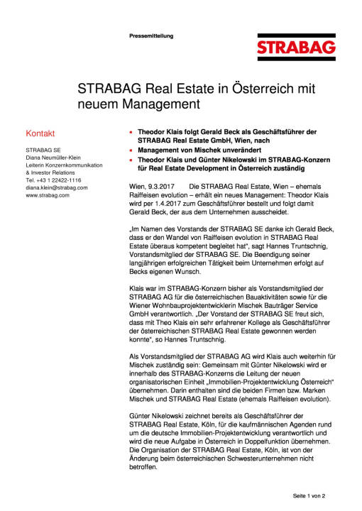 Strabag Real Estate in Österreich mit neuem Management, Seite 1/2, komplettes Dokument unter http://boerse-social.com/static/uploads/file_2155_strabag_real_estate_in_osterreich_mit_neuem_management.pdf