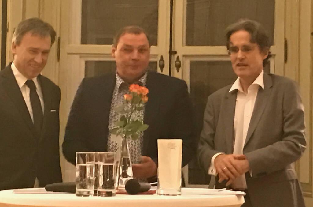 Christian Jauk Hannes Roither, Martin Kwauka beim Wiener Aktien Award 2017 in der Capital Bank (09.03.2017)