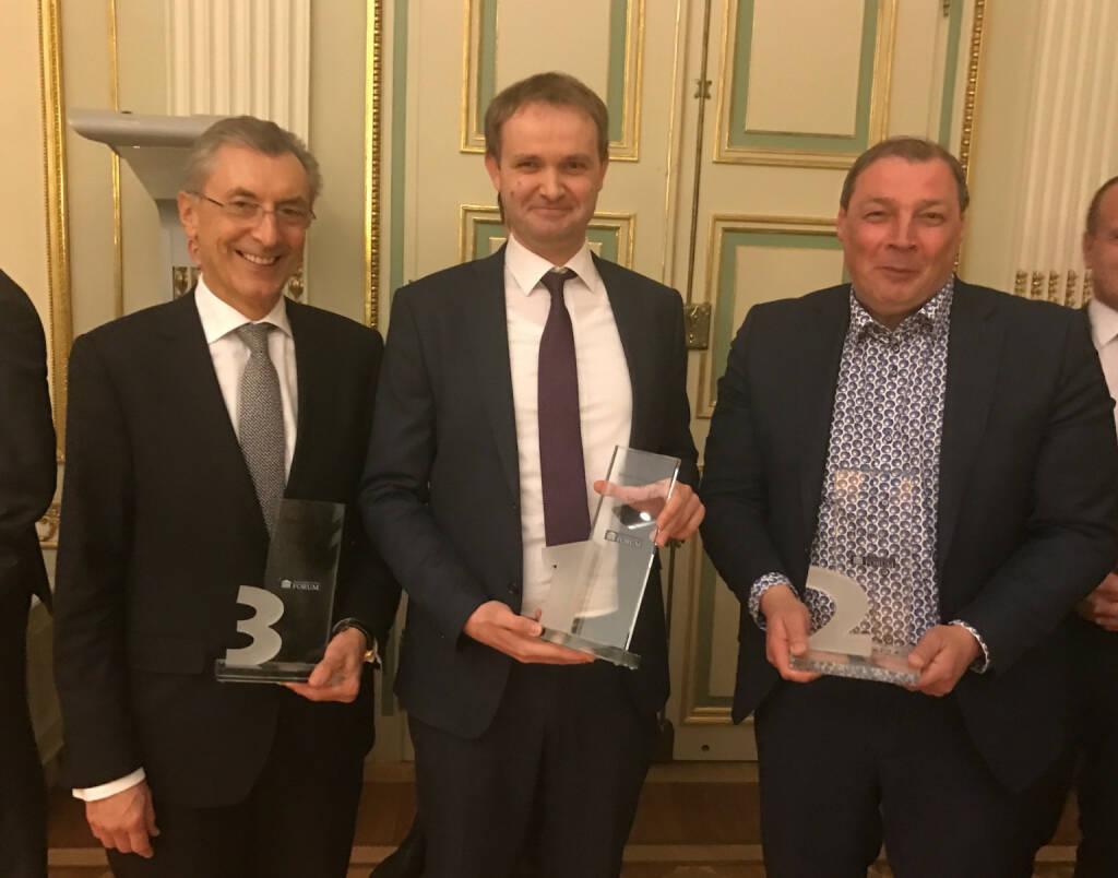 Siegertrio: Strabag, Agrana, Palfinger beim Wiener Aktien Award 2017 in der Capital Bank (09.03.2017)