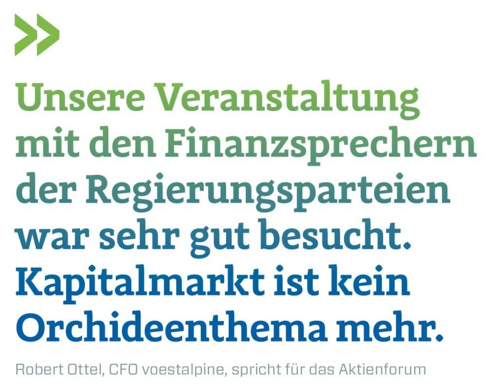 Unsere Veranstaltung mit den Finanzsprechern der Regierungsparteien war sehr gut besucht. Kapitalmarkt ist kein Orchideenthema mehr. Robert Ottel, CFO voestalpine, spricht für das Aktienforum, © photaq.com/Börse Social Magazine (12.03.2017)