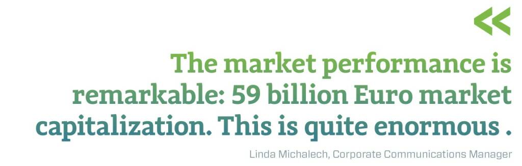 The market performance is remarkable: 59 billion Euro market capitalization. This is quite enormous. Linda Michalech, Corporate Communications Manager, © photaq.com/Börse Social Magazine (12.03.2017)