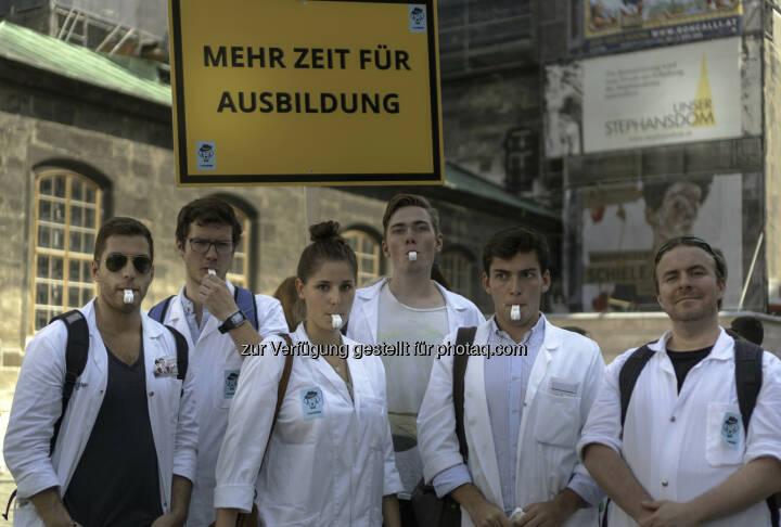 Medizinstudierende beim Ärzteprotest im September 2016 - med4more: WUM und Turnus Transparent fordern klare Konzepte für JungmedizinerInnen von Ärztekammer-Fraktionen vor der Wahl (Fotocredit: Turnus Transparent / Andrei Cornea)