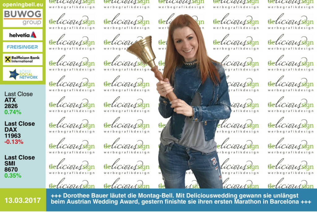 #openingbell am 13.3.:  Dorothee Bauer läutet die Opening Bell für Montag. Mit Deliciouswedding gewann sie unlängst beim Austrian Wedding Award, gestern finishte sie ihren ersten Marathon in Barcelona http://www.deliciouswedding.at https://www.facebook.com/groups/Sportsblogged (13.03.2017)