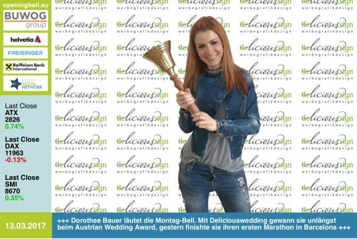 #openingbell am 13.3.:  Dorothee Bauer läutet die Opening Bell für Montag. Mit Deliciouswedding gewann sie unlängst beim Austrian Wedding Award, gestern finishte sie ihren ersten Marathon in Barcelona http://www.deliciouswedding.at https://www.facebook.com/groups/Sportsblogged