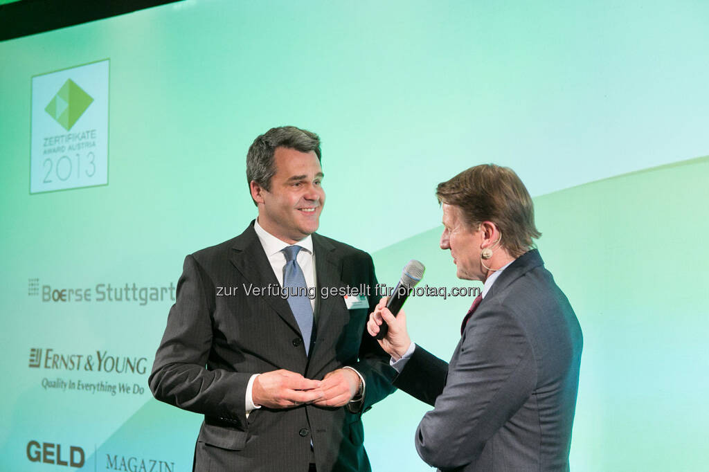 Michel Vukusic (Brokerjet), Lars Brandau (Deutscher Derivate Verband), © Martina Draper für BE / finanzmarktfoto.at (14.05.2013)