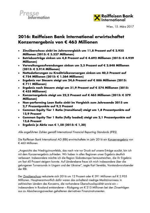 RBI: Konzernergebnis von 463 Millionen Euro, Seite 1/5, komplettes Dokument unter http://boerse-social.com/static/uploads/file_2161_rbi_konzernergebnis_von_463_millionen_euro.pdf