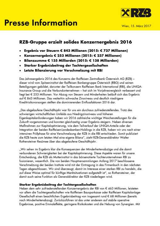RZB: Konzernergebnis 2016, Seite 1/4, komplettes Dokument unter http://boerse-social.com/static/uploads/file_2162_rzb_konzernergebnis_2016.pdf
