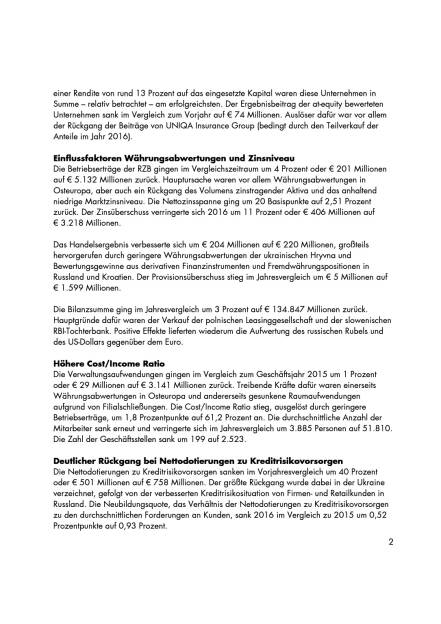 RZB: Konzernergebnis 2016, Seite 2/4, komplettes Dokument unter http://boerse-social.com/static/uploads/file_2162_rzb_konzernergebnis_2016.pdf (15.03.2017)