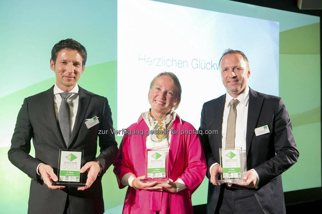 Thomas Schaufler (Erste Group), Heike Arbter (RCB), Frank Weingarts (UniCredit), © Martina Draper für BE / finanzmarktfoto.at (14.05.2013)