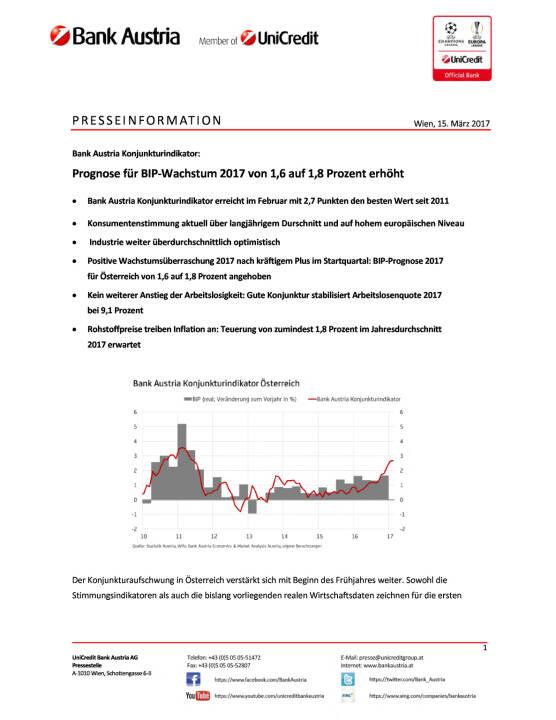 Bank Austria Konjunkturindikator: Prognose für BIP-Wachstum 2017 erhöht, Seite 1/6, komplettes Dokument unter http://boerse-social.com/static/uploads/file_2163_bank_austria_konjunkturindikator_prognose_fur_bip-wachstum_2017_erhoht.pdf