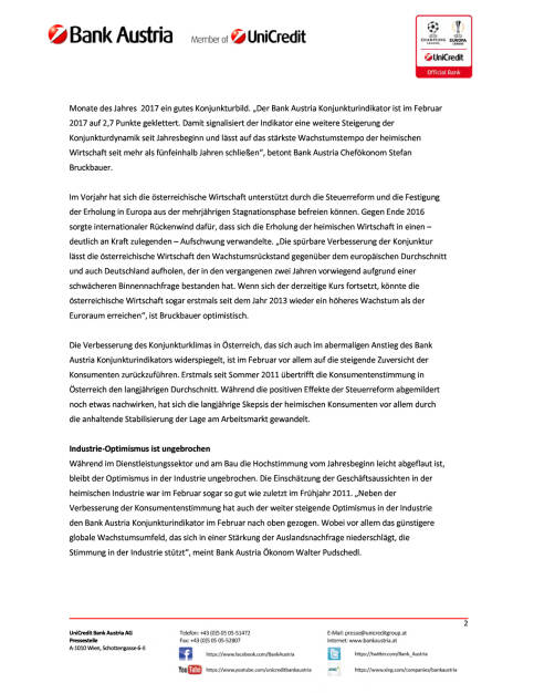 Bank Austria Konjunkturindikator: Prognose für BIP-Wachstum 2017 erhöht, Seite 2/6, komplettes Dokument unter http://boerse-social.com/static/uploads/file_2163_bank_austria_konjunkturindikator_prognose_fur_bip-wachstum_2017_erhoht.pdf (15.03.2017)