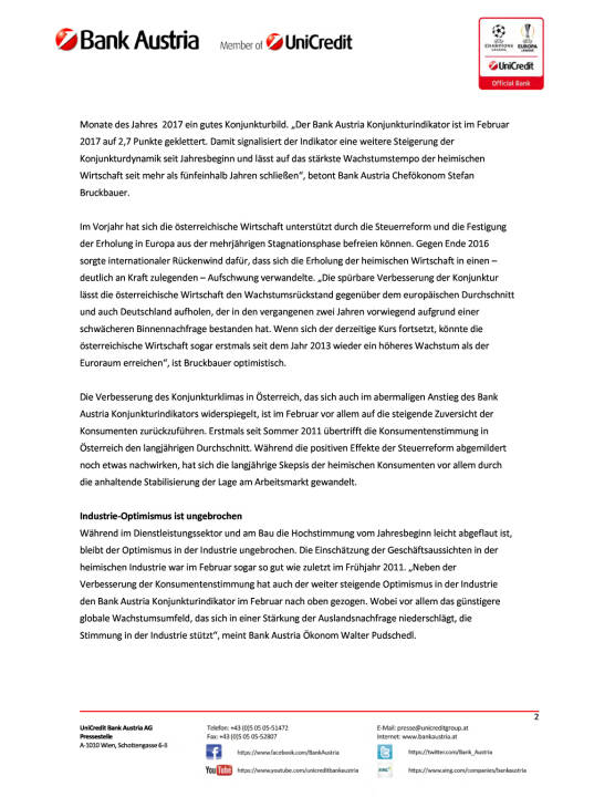 Bank Austria Konjunkturindikator: Prognose für BIP-Wachstum 2017 erhöht, Seite 2/6, komplettes Dokument unter http://boerse-social.com/static/uploads/file_2163_bank_austria_konjunkturindikator_prognose_fur_bip-wachstum_2017_erhoht.pdf