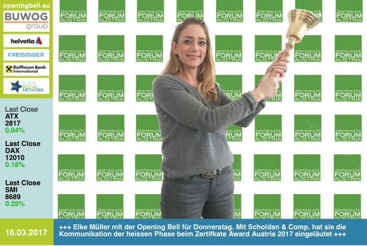 #openingbell am 16.3.: Elke Müller mit der Opening Bell für Donnerstag. Mit Scholdan & Comp. hat sie die Kommunikation der heissen Phase beim Zertifkate Award Austria 2017 eingeläutet http://www.zertifikateaward.at http://dieschnellenfressendielangsamen.at https://www.facebook.com/groups/GeldanlageNetwork/