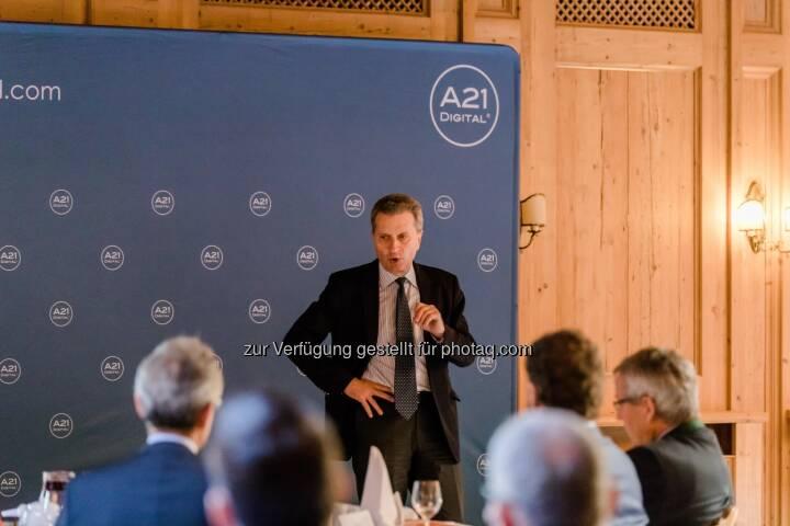 EU-Kommissar Günther H. Oettinger beim A21DIGITAL LECH SUMMIT - A21DIGITAL: EU-Kommissar Günther H. Oettinger beim A21DIGITAL LECH SUMMIT (Fotocredit: A21DIGITAL - Fotograf Pascal Hefti)