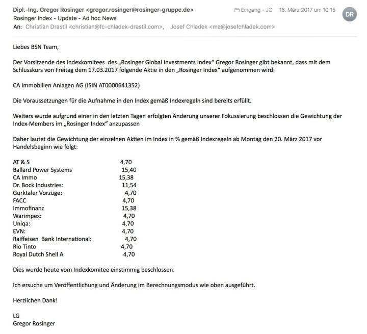 Indexevent Rosinger-Index 20: Aufnahme CA Immo per Schlusskurse 17.3.2017