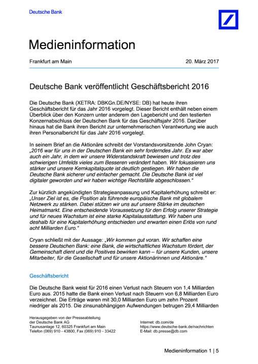Deutsche Bank veröffentlicht Geschäftsbericht 2016, Seite 1/5, komplettes Dokument unter http://boerse-social.com/static/uploads/file_2167_deutsche_bank_veroffentlicht_geschaftsbericht_2016.pdf