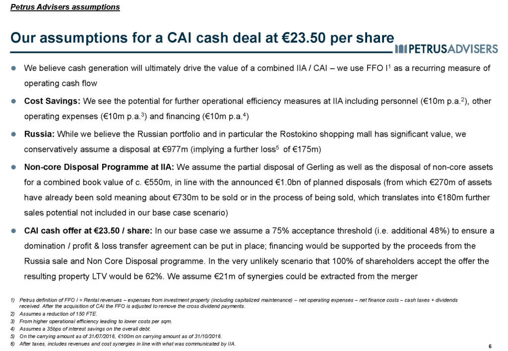 Our assumptions for a CAI cash deal at €23.50 per share - Petrus Advisers (20.03.2017)