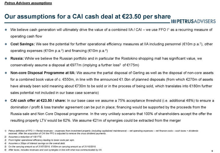 Our assumptions for a CAI cash deal at €23.50 per share - Petrus Advisers
