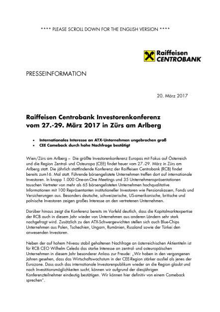 Raiffeisen Centrobank Investorenkonferenz vom 27.-29. März 2017 in Zürs am Arlberg, Seite 1/3, komplettes Dokument unter http://boerse-social.com/static/uploads/file_2168_raiffeisen_centrobank_investorenkonferenz_vom_27-29_marz_2017_in_zurs_am_arlberg.pdf (20.03.2017)