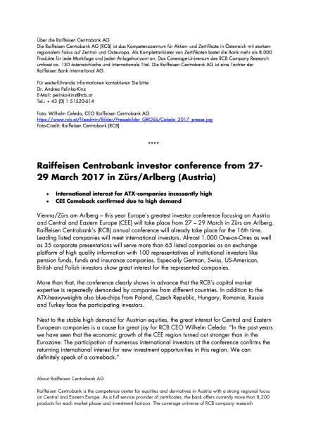 Raiffeisen Centrobank Investorenkonferenz vom 27.-29. März 2017 in Zürs am Arlberg, Seite 2/3, komplettes Dokument unter http://boerse-social.com/static/uploads/file_2168_raiffeisen_centrobank_investorenkonferenz_vom_27-29_marz_2017_in_zurs_am_arlberg.pdf (20.03.2017)