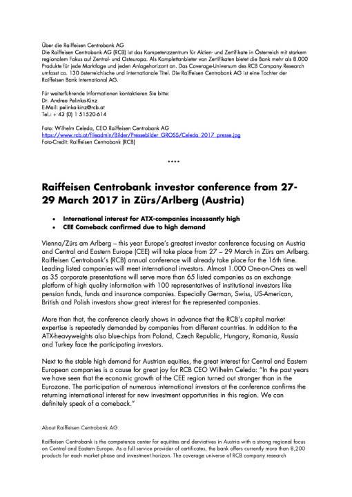 Raiffeisen Centrobank Investorenkonferenz vom 27.-29. März 2017 in Zürs am Arlberg, Seite 2/3, komplettes Dokument unter http://boerse-social.com/static/uploads/file_2168_raiffeisen_centrobank_investorenkonferenz_vom_27-29_marz_2017_in_zurs_am_arlberg.pdf