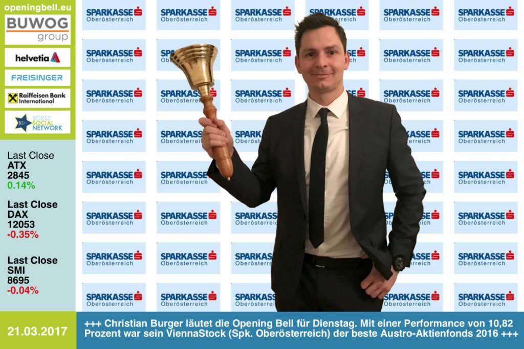 #openingbell am 21.3.: Christian Burger läutet die Opening Bell für Dienstag. Mit einer Performance von 10,82 Prozent war sein ViennaStock (Spk. Oberösterreich) der beste Austro-Aktienfonds 2016 http://boerse-social.com/numberone/2016 https://www.facebook.com/groups/GeldanlageNetwork/ http://sparkasse-ooe.at http://www.s-fonds.at (21.03.2017)