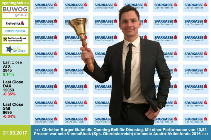 #openingbell am 21.3.: Christian Burger läutet die Opening Bell für Dienstag. Mit einer Performance von 10,82 Prozent war sein ViennaStock (Spk. Oberösterreich) der beste Austro-Aktienfonds 2016 http://boerse-social.com/numberone/2016 https://www.facebook.com/groups/GeldanlageNetwork/ http://sparkasse-ooe.at http://www.s-fonds.at