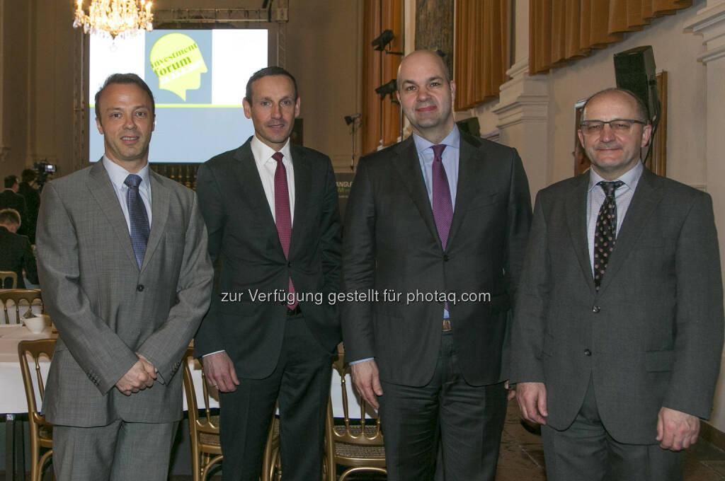 Dr. Marcus Scheiblecker (WIFO), Mag. Markus Ploner, CFA, MBA (Spängler IQAM Invest), Marcel Fratzscher, Ph.D. (DIW Berlin) und Univ.-Prof. Dr. Christian Keuschnigg (Universität St. Gallen und WPZ Wien) - Spängler Investmentforum, Residenz Salzburg, 20170322 (Foto: wildbild, Herbert Rohrer) (23.03.2017)