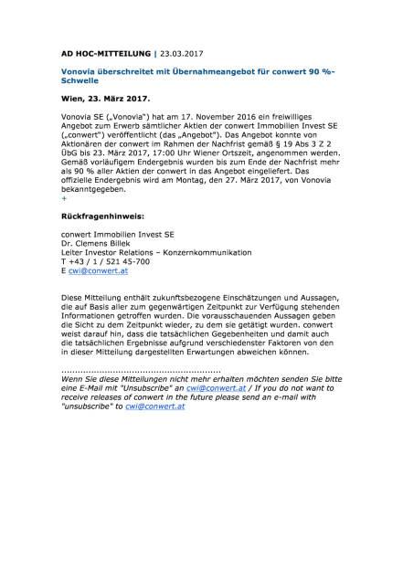 Vonovia überschreitet mit Übernahmeangebot für conwert 90 %-Schwelle, Seite 1/1, komplettes Dokument unter http://boerse-social.com/static/uploads/file_2178_vonovia_uberschreitet_mit_ubernahmeangebot_fur_conwert_90_-schwelle.pdf (23.03.2017)