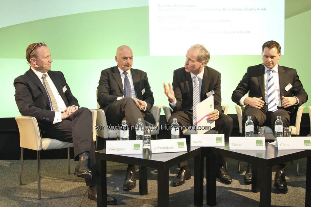 Roundtable: Frank Weingarts (UniCredit), Rupertus Rothenhäuser (Börse Stuttgart), Christian Drastil, Ronald Zilavec (Bankhaus Spängler), © Norbert Novak für das ZFA (14.05.2013)