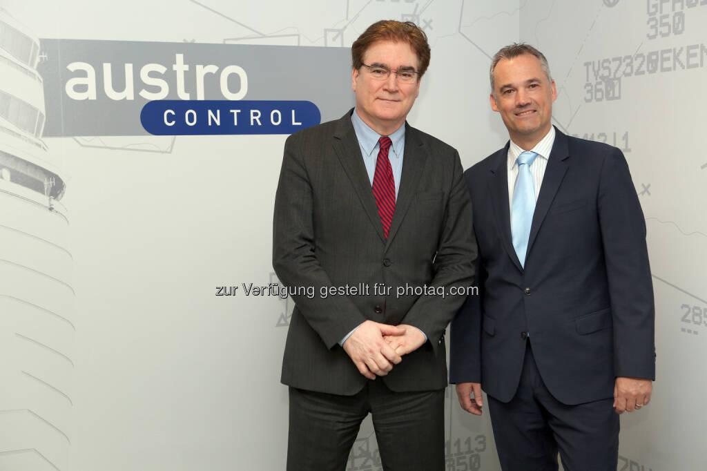 Dr.Heinz Sommerbauer (CEO); Thomas Hoffmann (MSc., COO) - Austro Control GmbH: Austro Control: Positive Bilanz 2016 (Fotocredit: Austro Control GmbH/APA-Fotoservice/Bargad), © Aussender (30.03.2017)