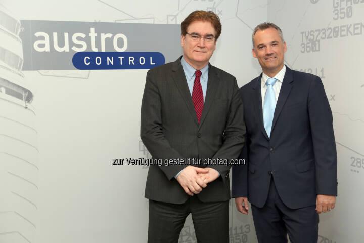 Dr.Heinz Sommerbauer (CEO); Thomas Hoffmann (MSc., COO) - Austro Control GmbH: Austro Control: Positive Bilanz 2016 (Fotocredit: Austro Control GmbH/APA-Fotoservice/Bargad)
