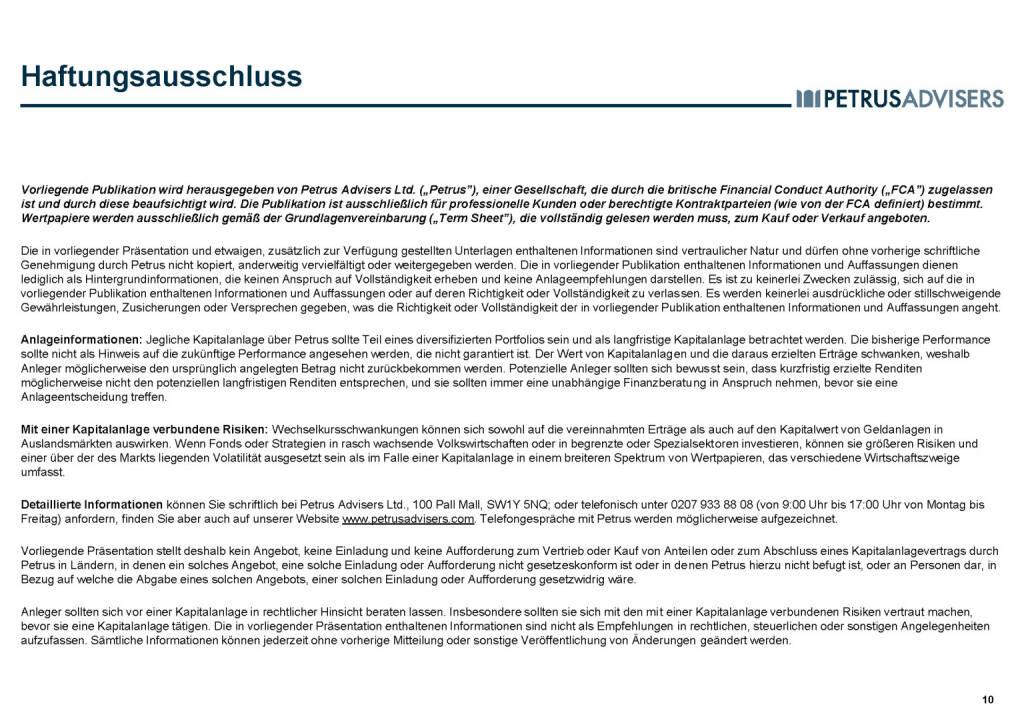 Petrus Advisers - Haftunsausschluss (30.03.2017)