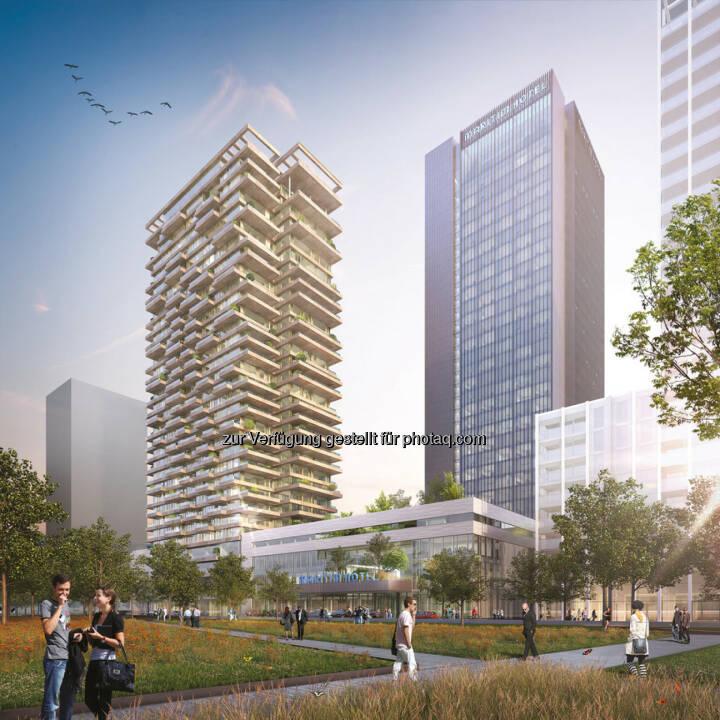 Züblin wurde mit dem Bau eines neuen Hochhausensembles in Amsterdam Noord, Niederlande, an der Uferpromenade des Flusses IJ beauftragt. (Bildnachweis: Team V Architecture/Zwartlicht)