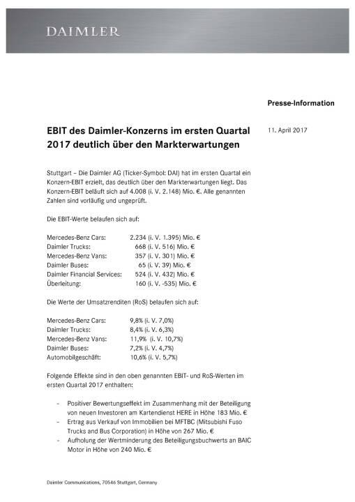 Ebit des Daimler-Konzerns im ersten Quartal 2017 , Seite 1/2, komplettes Dokument unter http://boerse-social.com/static/uploads/file_2205_ebit_des_daimler-konzerns_im_ersten_quartal_2017.pdf