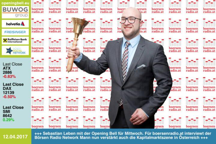 #openingbell am 12.4.: Sebastian Leben mit der Opening Bell für Mittwoch. Für boersenradio.at interviewt der Börsen Radio Network Mann nun verstärkt auch die Kapitalmarktszene in Österreich http://www.boersenradio.at mit der Prime-Variante https://www.wienerborse.at/news/boersenradio/ https://www.facebook.com/groups/GeldanlageNetwork/