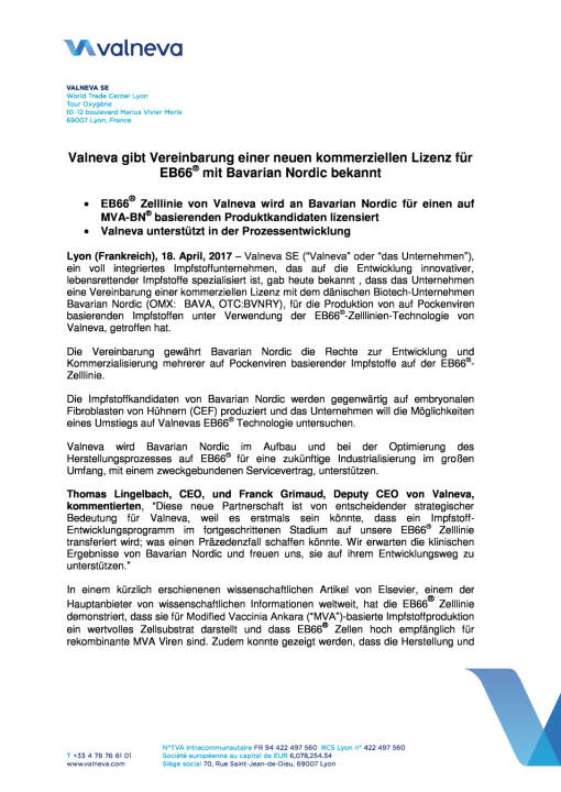Valneva gibt Vereinbarung einer neuen kommerziellen Lizenz für EB66® mit Bavarian Nordic bekannt, Seite 1/4, komplettes Dokument unter http://boerse-social.com/static/uploads/file_2211_valneva_gibt_vereinbarung_einer_neuen_kommerziellen_lizenz_fur_eb66_bekannt.pdf