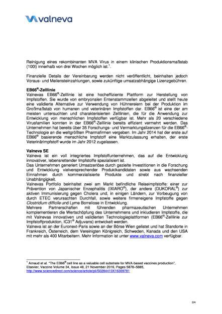 Valneva gibt Vereinbarung einer neuen kommerziellen Lizenz für EB66® mit Bavarian Nordic bekannt, Seite 2/4, komplettes Dokument unter http://boerse-social.com/static/uploads/file_2211_valneva_gibt_vereinbarung_einer_neuen_kommerziellen_lizenz_fur_eb66_bekannt.pdf (18.04.2017)