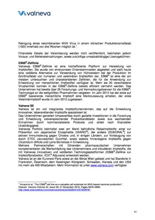 Valneva gibt Vereinbarung einer neuen kommerziellen Lizenz für EB66® mit Bavarian Nordic bekannt, Seite 2/4, komplettes Dokument unter http://boerse-social.com/static/uploads/file_2211_valneva_gibt_vereinbarung_einer_neuen_kommerziellen_lizenz_fur_eb66_bekannt.pdf