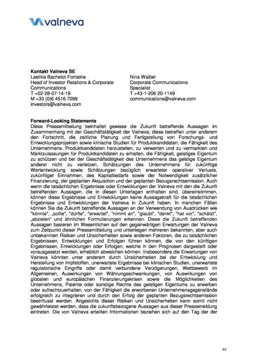 Valneva gibt Vereinbarung einer neuen kommerziellen Lizenz für EB66® mit Bavarian Nordic bekannt, Seite 3/4, komplettes Dokument unter http://boerse-social.com/static/uploads/file_2211_valneva_gibt_vereinbarung_einer_neuen_kommerziellen_lizenz_fur_eb66_bekannt.pdf