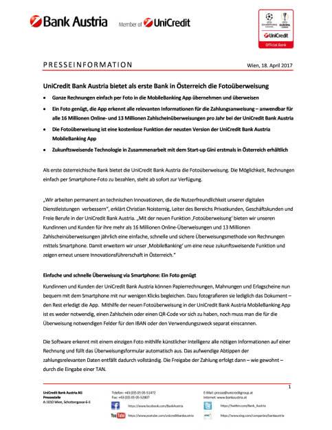 UniCredit Bank Austria bietet als erste Bank in Österreich die Fotoüberweisung, Seite 1/2, komplettes Dokument unter http://boerse-social.com/static/uploads/file_2212_unicredit_bank_austria_bietet_als_erste_bank_in_osterreich_die_fotouberweisung.pdf (18.04.2017)