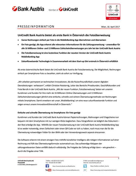UniCredit Bank Austria bietet als erste Bank in Österreich die Fotoüberweisung, Seite 1/2, komplettes Dokument unter http://boerse-social.com/static/uploads/file_2212_unicredit_bank_austria_bietet_als_erste_bank_in_osterreich_die_fotouberweisung.pdf
